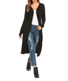 Women's Lightweight Open Front Long Sleeve Fall Knit Pocket Hoodie Cardigan - Black - CE18783R8OY,Women's Clothing, Sweaters, Cardigans  #Sweaters #style #fashion #outfits #Cardigans