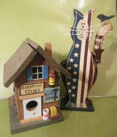 "Cat Figurine  --Wooden--Patriotic--  8 ""   Tall  AND-- Wooden Birdhouse-RUSTIC -Cute – ""Hardware  Store""  Birdhouse--Two for One Price by Riverripples on Etsy"
