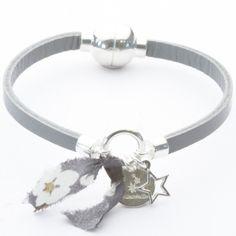 Bracelet cuir grigri étoile et liberty gris