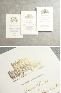 Gold Foil Wedding Invitations - Getting married in a historic castle? Celebrate you wedding venue by featuring it on your wedding invitations in sparkling gold foil. We'll illustrate and foil print it in our sketched style. Elegant Wedding Invitations, Gold Invitations, Invitation Cards, Wedding Favors, Wedding Ceremony, Wedding Sparklers, Foil Wedding Stationery, Illustrated Wedding Invitations, Invitations Online
