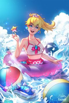 absurdres artist name blonde hair blue eyes blue shell breasts collaboration crown highres innertube jonathan hamilton lisa buijteweg mario (series) open mouth popsicle princess peach small breasts smile super mario bros. Super Mario Bros, Super Mario Brothers, Super Mario Kunst, Mario And Princess Peach, Princess Daisy, Princesa Peach Cosplay, Harmonie Mario, Chibi, Peach Mario