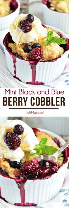 Berry Cobbler is a dessert classic everyone loves! Blackberries and blueberries are topped with a delicious biscuit like dough and baked in ramekins for the perfect single-serving dessert. Serve fresh out of the oven with scoop of ice cream and they are irresistible! Mini Black and Blue Berry Cobbler recipe at TidyMom.net