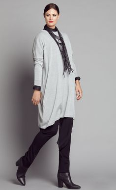 SILVER MERINO OVERSIZED TUNIC NWKM164SIL