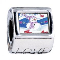 Snowman With Birds Photo Love Charms  Fit pandora,trollbeads,chamilia,biagi,soufeel and any customized bracelet/necklaces. #Jewelry #Fashion #Silver# handcraft #DIY #Accessory
