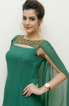 Diksha Panth In Nehal Sarogi Cape Gown - FashionPro Sleeves Designs For Dresses, Dress Neck Designs, Blouse Designs, Neckline Designs, Saris, Churidar Designs, Lehenga Designs, Kurta Neck Design, Kurti Designs Party Wear