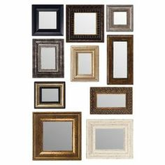 """10 decorative wall mirrors. Product: 10-Piece mirror setConstruction Material: Mirrored glass  Color: MultiFeatures:   Can be hung together or separately  Framed design provides a formal style for any space     Dimensions: Small: 3"""" H x 5"""" W Medium: 4"""" H x 6"""" W Large: 6"""" H x 8"""" W Extra large: 8"""" H x 10"""" W"""