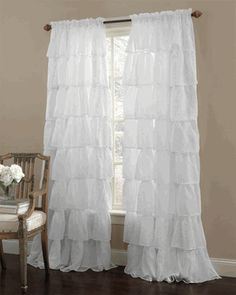 Gypsy Ruffled Curtain Panel - great price for a ruffle curtain and cheaper than I can make it. Score!