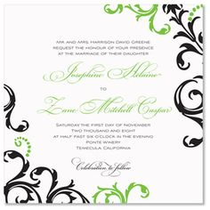 Kelly Green, Black and White Modern Invitation