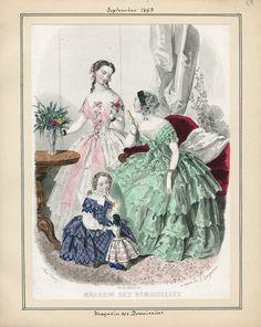 Victorian Era Fashion, 1850s Fashion, Vintage Fashion, Fashion Plates, Fashion Prints, Ball Gowns, Kids Fashion, Romantic, Historical Dress