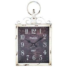 Antique White Rectangular Metal Swirl Wall Clock