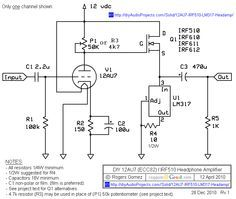NP-100v12 - 12AU7 (ECC82) / IRF510 Headphone Amplifier Schematic