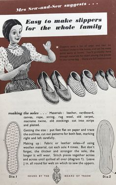 I came across a lovely set of 'Make do and Mend' leaflets from It's a lovely insight into how we managed with little resources and to make do with what was already avai… Sewing Hacks, Sewing Crafts, Sewing Projects, Vintage Ads, Vintage Sewing, Clothing Patterns, Sewing Patterns, Make Do And Mend, Fabric Shoes