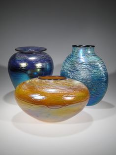 Luster vases by Tom Stoenner. American Made. See the designer's work at the 2016 American Made Show, Washington DC. January 15-17, 2016. americanmadeshow.com #americanmade, #americanmadeshow, #artglass, #vase