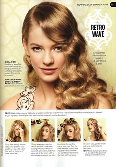 "Nice tutorial for modern ""Veronica Lake"" styled waves with a curling iron.  You can also use a combination of curlers and wave clips to achieve this vintage look."