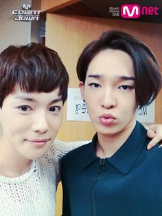 """WINNER's Kim Jin Woo and Nam Tae Hyun before """"M!Countdown"""" (Click for more pictures of WINNER before the show!)"""