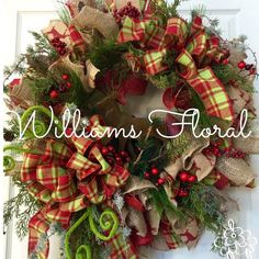 rustic wreath christmas wreath mesh wreath deer country wreath burlap by