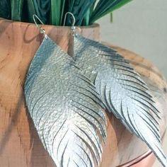 Handmade leather feather earrings