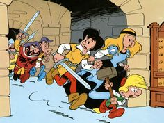 Johann und Pfiffikus, Johan et Pirlouit, Johan and Peewit Johan Et Pirlouit, Classic Cartoons, My Childhood, Bart Simpson, Retro, Smurfs, Comic Art, Illustration, Nostalgia