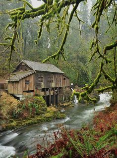 My favorite Washington grist mill. Water Wheel Mill (Cedar Creek, Washington) by Country Barns, Old Barns, Old Grist Mill, Nature Landscape, Landscape Design, Cedar Creek, Water Mill, Water Tower, Le Moulin