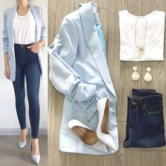 30 Catchy Blue Work Outfit Ideas ~ Fashion & Design - - Outfits for Work Casual Work Outfits, Business Casual Outfits, Professional Outfits, Mode Outfits, Work Attire, Classy Outfits, Chic Outfits, Trendy Outfits, Winter Outfits
