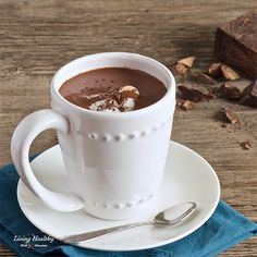Paleo Healthy Homemade French Hot Chocolate Recipe - living healthy with chocolate. Non dairy French Hot Chocolate Recipe, Paleo Hot Chocolate, Chocolate Flavors, Paleo Dessert, Paleo Sweets, Living Healthy With Chocolate, Healthy Living, Paleo Dairy, Healthy Treats