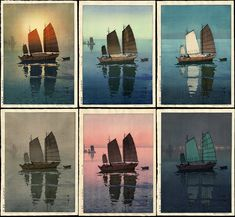 It's not a great quality photo, but Hiroshi Yoshida is a master at manipulating mood through color. these are 6 reprints of his where he only changed the colors used Art And Illustration, Japanese Prints, Japanese Art, Toledo Museum Of Art, Art Occidental, Landscape Prints, Seascape Paintings, Gravure, Woodblock Print