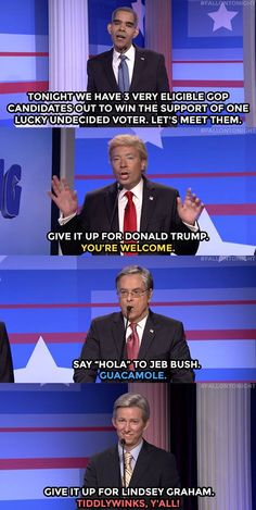 """The Tonight Show Starring Jimmy Fallon Page Liked · September 16 ·     Donald Trump, Jeb Bush and Lindsey Graham appeared on """"The Debating Game"""" - a game show hosted by President Barack Obama.  WATCH: https://www.youtube.com/watch?v=PoyClMUrUSs"""