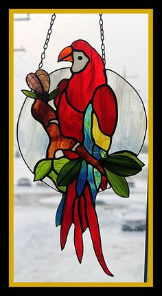 Eclectus Parrots Stained Glass