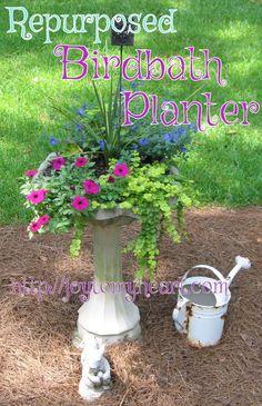 Repurposed Birdbath Planter Container GardeningFlower