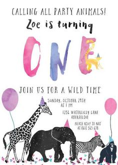 Girl Party Animal Invitation Calling All Party Animals Zoo