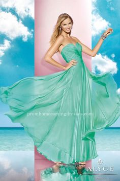 Strapless Silky Chiffon Long Prom Dresses by Alyce 35595