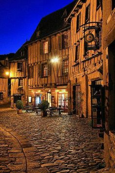 Twilight in the medieval village of Conques, Aveyron, France.