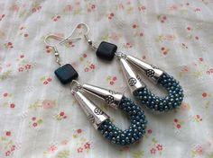 Long Light Blue seed bead crochet earrings with by SeedBySeed: