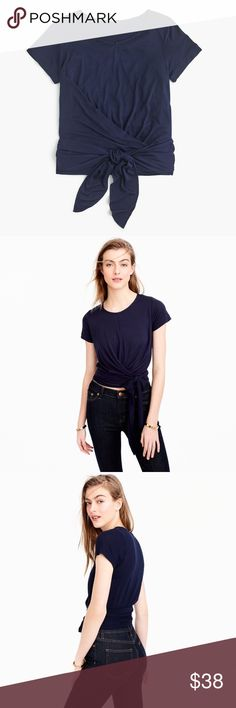 Jcrew tie tshirt BNWT PRODUCT DETAILS The T-shirt, 2.0, thanks to a wraparound tie waist.  Viscose. Machine wash. Import. Item G5714. J. Crew Tops