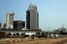 Downtown from Interstate 10, Mobile, Alabama, United States, 2012, photograph by Andy New.