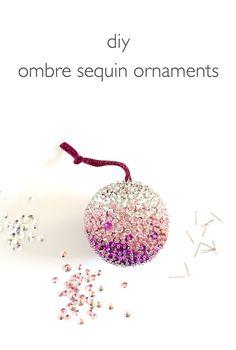 DIY: ombre sequin ornaments #Christmas                                                                                                                                                                                 More