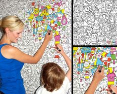 this frames wallpaper from land of nod is meant for kids to draw on the walls i am loving this in a big bad way pinterest framed - Coloring Book Wallpaper