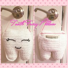 Free pattern for tooth fairy. This pattern was requested by my sister to help the tooth fairy visit my niece without disturbing her slumber. The tooth hangs happily on her door awaiting her visit with the tooth fairy. Crochet Gratis, Cute Crochet, Crochet For Kids, Crochet Toys, Funny Crochet, Crochet Fairy, Crochet Flowers, Tooth Fairy Pillow, Tooth Pillow