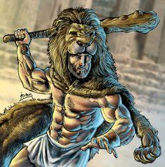 Hercules (Heracles, Herakles) with Lion Cloak. Hercules Mythology, Greek Mythology Tattoos, 12 Labors Of Hercules, Hercules Tattoo, Nemean Lion, Roman Gods, Greek Gods And Goddesses, Fantasy Male, Ancient Greece