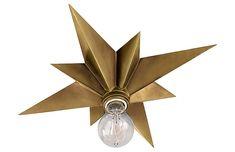 Visual Comfort - Star Flush Mount, Hand-Rubbed Brass | One Kings Lane. foyer?