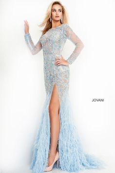 Jovani 37580 Beaded Illusion Feather Gown Backless Evening Gowns, Long Sleeve Evening Gowns, Blue Evening Gowns, Prom Dresses Jovani, Gala Dresses, Pageant Dresses, Trumpet Dress, Red Carpet Gowns, Prom Dress Stores