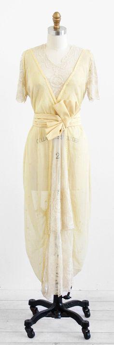 antique 1910s Edwardian linen + lace tea or wedding dress.