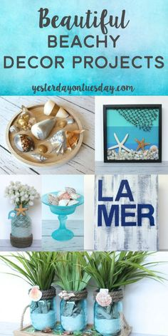 Beautiful Beachy Decor Ideas including designer knockoffs for a fraction of the price. Easy DIY ideas for summer decorating.