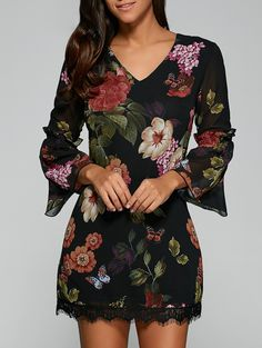 Laciness Floral Bell Sleeve Dress in Black | Sammydress.com