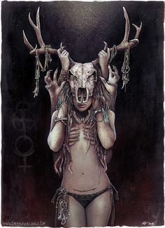 The Horned Goddess http://lovell-art.deviantart.com/art/The-Horned-Goddess-443152337