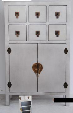 Muebles para el Hogar: Muebles Orientales | Recibidor oriental japones con 6 cajones centrales Mod 7081 Plata                                                                                                                                                                                 Más