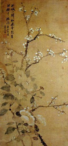 동백매화도 신명연 1809-1886, camellia and plum blossom by Shin Myong-Yeon, korean literati painter