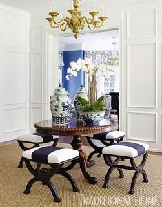 New Home in Navy and Indigo | Traditional Home - foyer with antique English benches and an 1800s table