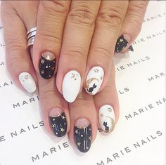 Marie Nails - Halloween Stars, Moon, and Cat Nails