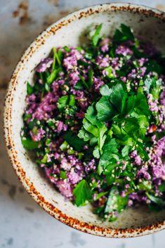 Purple Cauliflower Tabbouleh | Well and Full | #raw #vegan #recipe